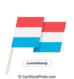 Luxembourg Ribbon Waving Flag Isolated on White. Vector...