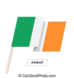 Ireland Ribbon Waving Flag Isolated on White. Vector Illustration.