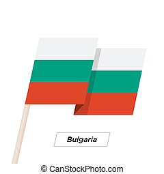 Bulgaria Ribbon Waving Flag Isolated on White. Vector...