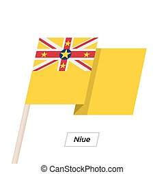 Niue Ribbon Waving Flag Isolated on White. Vector...