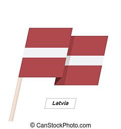 Latvia Ribbon Waving Flag Isolated on White. Vector...