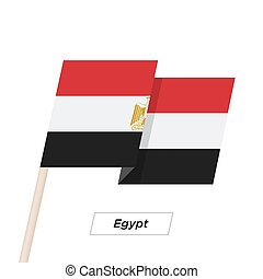 Egypt Ribbon Waving Flag Isolated on White. Vector...
