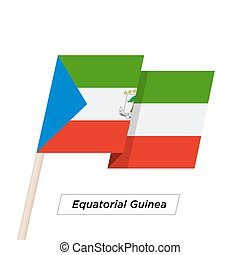 Equatorial Guinea Ribbon Waving Flag Isolated on White....