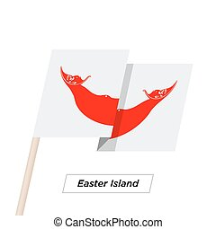 Easter Island Ribbon Waving Flag Isolated on White. Vector...