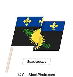 Guadeloupe Ribbon Waving Flag Isolated on White. Vector...