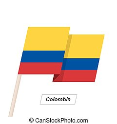 Colombia Ribbon Waving Flag Isolated on White. Vector...