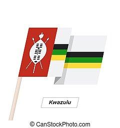 Kwazulu Ribbon Waving Flag Isolated on White. Vector...