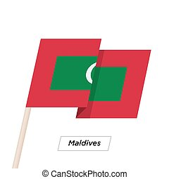 Maldives Ribbon Waving Flag Isolated on White. Vector...