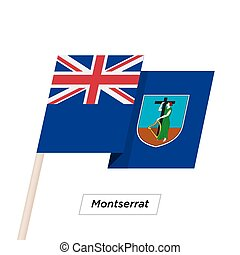 Montserrat Ribbon Waving Flag Isolated on White. Vector...