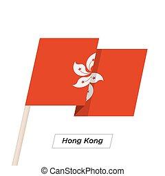 Hong Kong Ribbon Waving Flag Isolated on White. Vector...