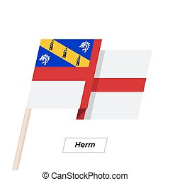 Herm Ribbon Waving Flag Isolated on White. Vector...