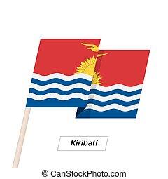 Kiribati Ribbon Waving Flag Isolated on White. Vector...