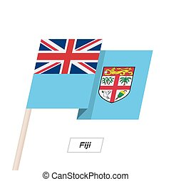 Fiji Ribbon Waving Flag Isolated on White. Vector...