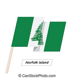 Norfolk Island Ribbon Waving Flag Isolated on White. Vector...