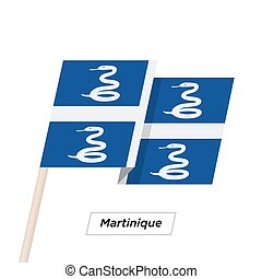 Martinique Ribbon Waving Flag Isolated on White. Vector...