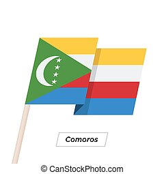 Comoros Ribbon Waving Flag Isolated on White. Vector...