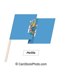 Melilla Ribbon Waving Flag Isolated on White. Vector...