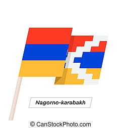 Nagorno-karabakh Sharp Ribbon Waving Flag Isolated on White....