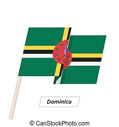 Dominica Ribbon Waving Flag Isolated on White. Vector...
