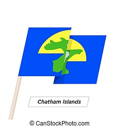 Chatham Islands Ribbon Waving Flag Isolated on White. Vector...