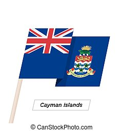 Cayman Islands Ribbon Waving Flag Isolated on White. Vector...