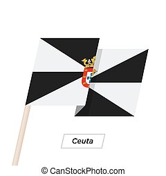 Ceuta Ribbon Waving Flag Isolated on White. Vector...
