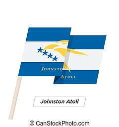 Johnston Atoll Ribbon Waving Flag Isolated on White. Vector...