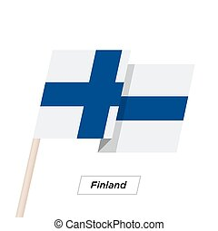 Finland Ribbon Waving Flag Isolated on White. Vector Illustration.