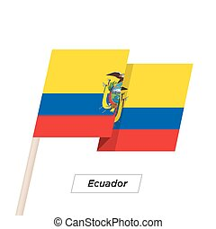 Ecuador Ribbon Waving Flag Isolated on White. Vector...