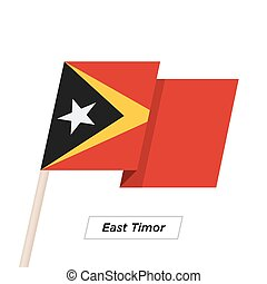 East Timor Ribbon Waving Flag Isolated on White. Vector...