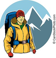 Mountaineer And Ice Mountain - A vector illustration of...