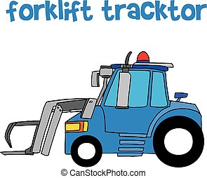 Forklift tracktor with hand draw vector illustration