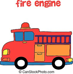 Collection style of fire engine vector illustration