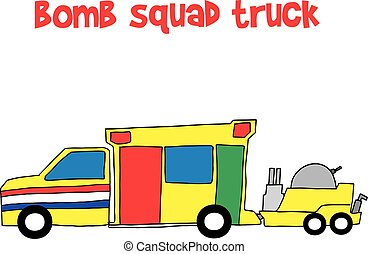 Bomb squad truck collection stock vector illustration
