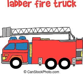 Vector of ladder fire truck