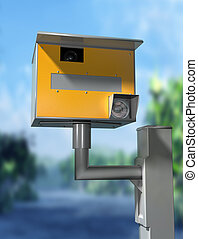 Safety camera - Illustration of a road safety speed camera