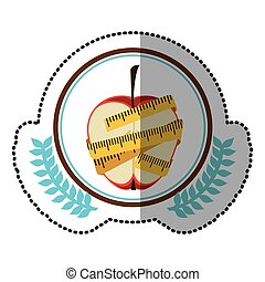 middle shadow sticker colorful with olive crown with middle apple with tape measure around in circle
