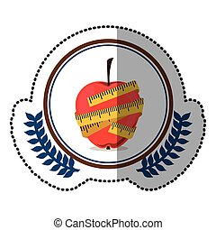 middle shadow sticker colorful with olive crown with apple with tape measure around in circle