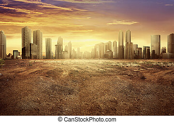 Modern city showing the effect of climate change