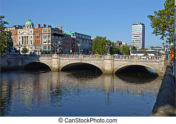 photo most famous bridge in ireland,o'connell bridge,dublin...