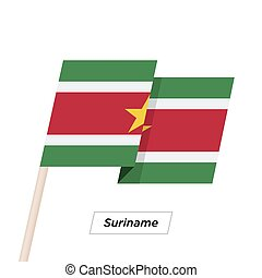 Suriname Ribbon Waving Flag Isolated on White. Vector...