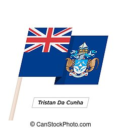 Tristan Da Cunha Ribbon Waving Flag Isolated on White....