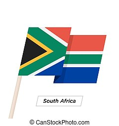 South Africa Ribbon Waving Flag Isolated on White. Vector...