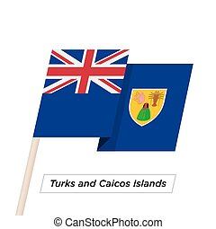 Turks and Caicos Islands Ribbon Waving Flag Isolated on...