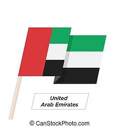 United Arab Emirates Ribbon Waving Flag Isolated on White....