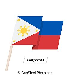 Philippines Ribbon Waving Flag Isolated on White. Vector...