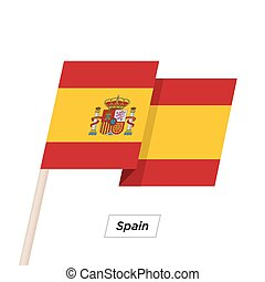 Spain Ribbon Waving Flag Isolated on White. Vector...