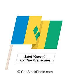 Saint Vincent and the Grenadines Ribbon Waving Flag Isolated...