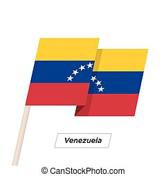 Venezuela Ribbon Waving Flag Isolated on White. Vector...