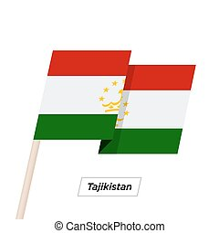Tajikistan Ribbon Waving Flag Isolated on White. Vector...